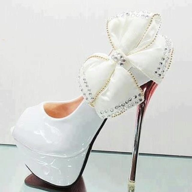 White heels Bows and Heels on Pinterest