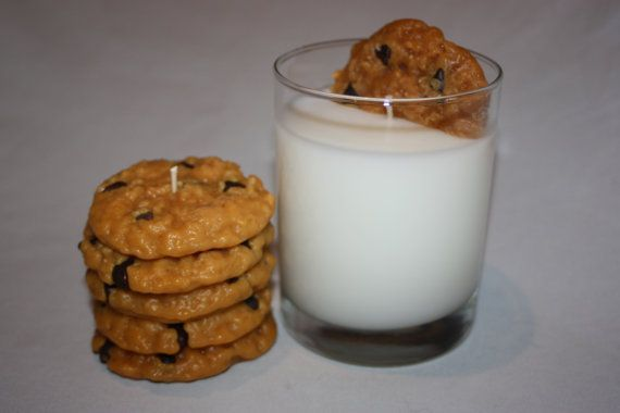 Milk and Cookies Candle Set, Chocolate Chip Cookie, Highly Scented, Unique Candle, Home Decor Candles, Fake Food