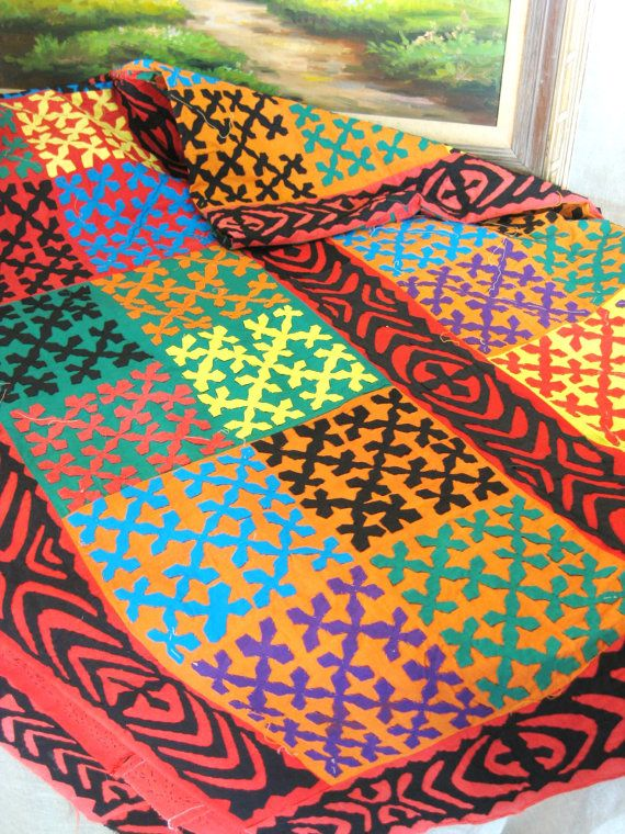 Vintage Pakistani Appliqued Quilt--I am in love with these colors!