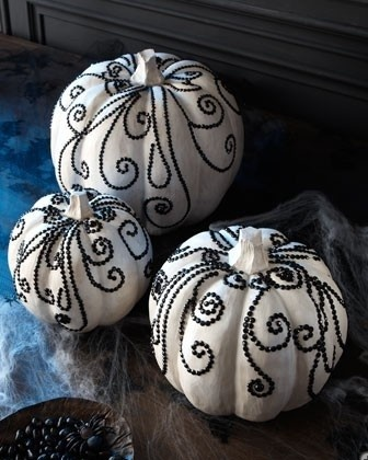 Love these rhinestone black and white pumpkins!