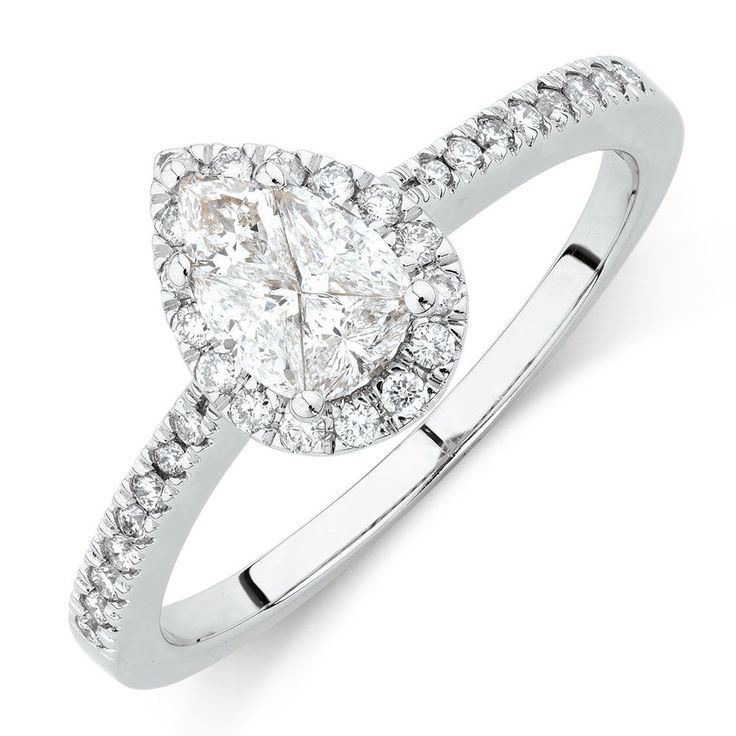 A stunning way to pop the question, this 14ct white gold ring features diamonds lining the fine band, and a pear-shaped composite top with glittering halo.
