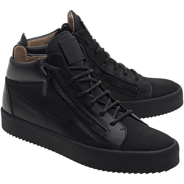 GIUSEPPE ZANOTTI May London Snap Nero // Leather sneakers with zipper... ($600) ❤ liked on Polyvore featuring men's fashion, men's shoes, men's sneakers, giuseppe zanotti mens sneakers, mens black sneakers, mens leather sneakers, mens leather shoes and mens black leather shoes