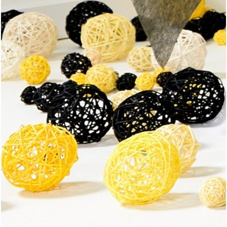 Boule rotin jaune assorti les 10