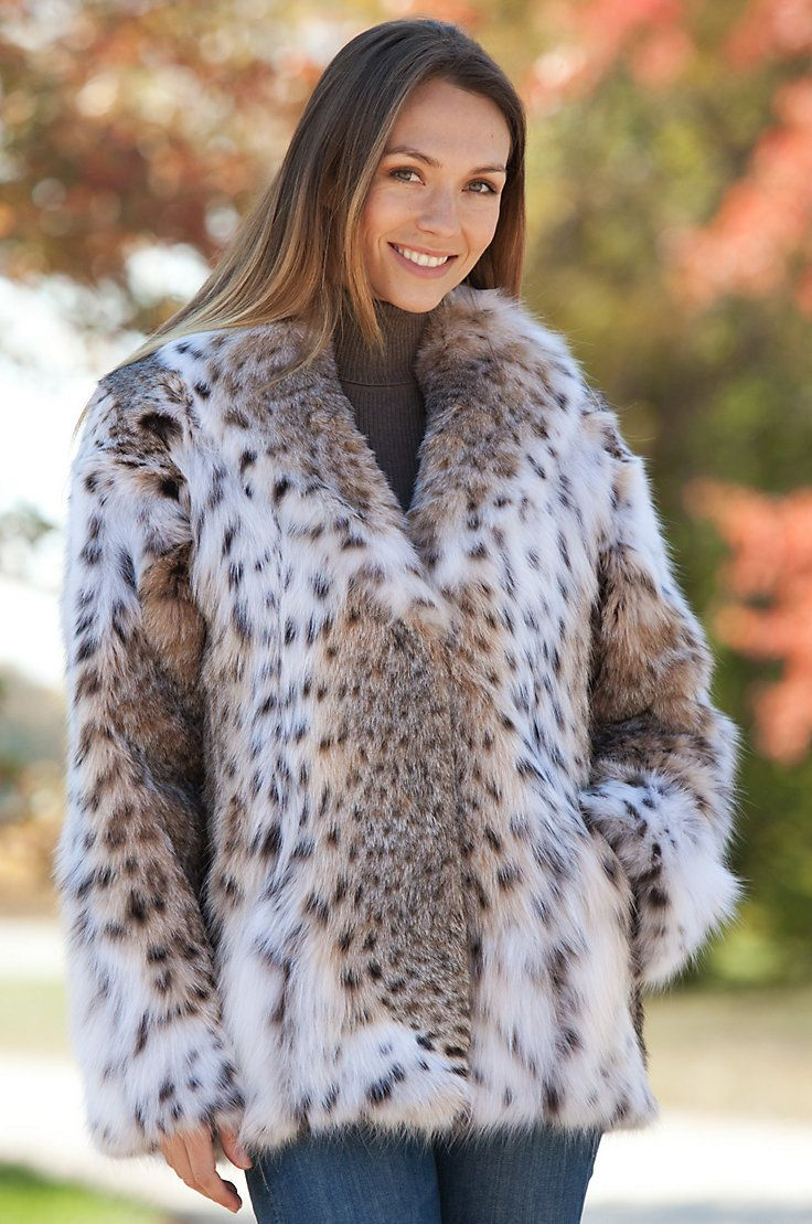 Women's Maliya Lynx Fur Jacket by Overland Sheepskin Co. (style 11703)