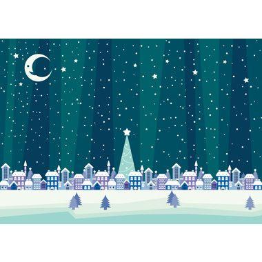 フリー背景イラスト冬「クリスマスの夜の町」JPG画像/PNG画像/ai形式/psd形式/より選んでご利用下さい。