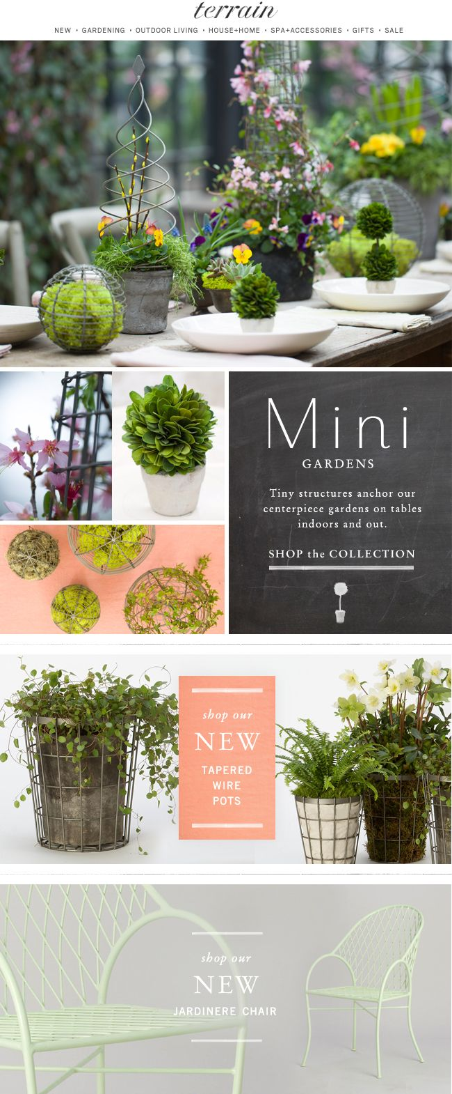 Mini Garden: Tiny structures anchor our #centerpieces indoors and out.