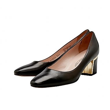 Mauro Teci Gold Trim Heel -   Black Nappa Leather Court with Gold Heel Trim.  For our full collection visit http://www.louisemshoes.com. #louisemshoes
