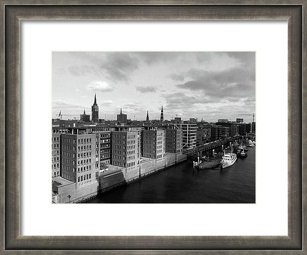 Marina Usmanskaya Framed Print featuring the photograph Hamburg.Hafen-city Black And White by Marina Usmanskaya  A breathtaking view of Hafen City from the observation platform of the Elphy- Philharmonic. Hamburg in Black and White.Fine Art Prints for home design.
