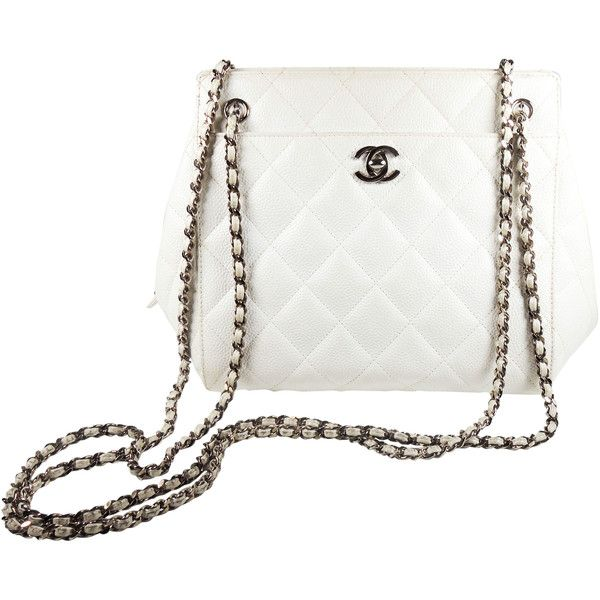 Pre-Owned Chanel Caviar Zip Top Frame White Leather Shoulder Bag... found on Polyvore featuring bags, handbags, shoulder bags, white, leather handbags, shoulder handbags, vintage leather purse, leather purses and chanel purse