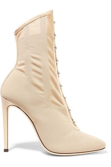 Giuseppe Zanotti - Janice Leather-trimmed Stretch-mesh Ankle Boots - Beige
