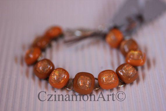 Orange  Silver Dichroic Fused Glass Bracelet Orange by CzinamonArt, €25.00
