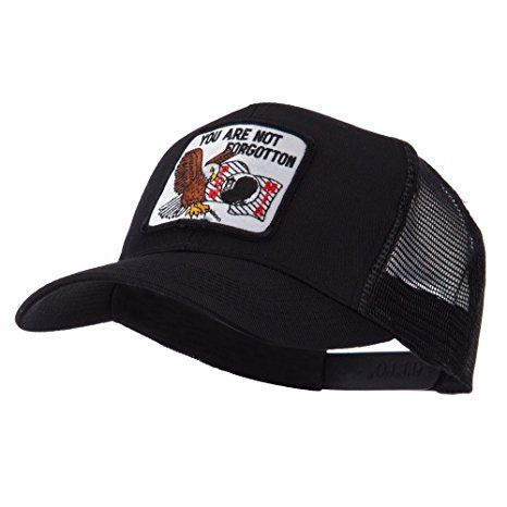 Pow Mia Embroidered Military Patched Mesh Cap - Not Forgotten OSFM