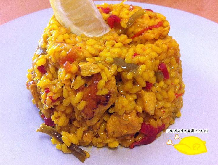 Emplatado de la receta de Arroz con pollo - en Recetadepollo.com