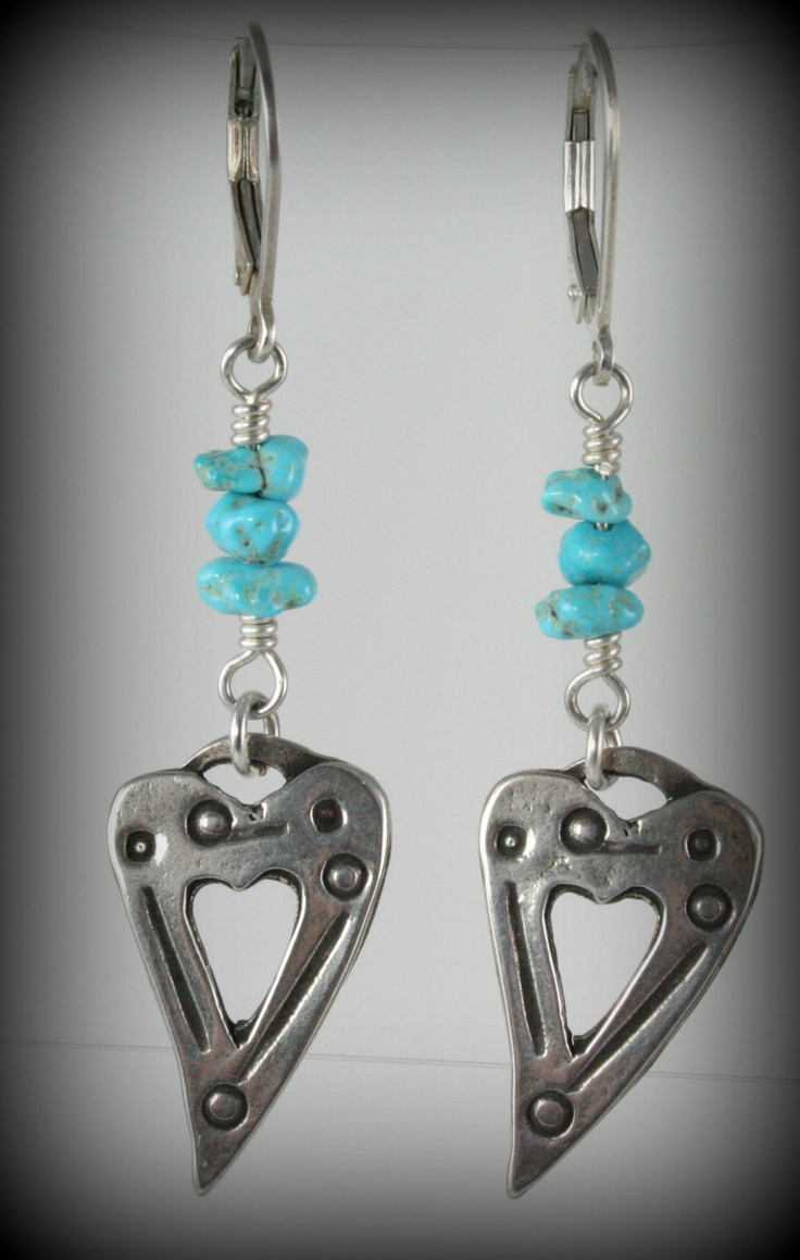 Turquoise And Sterling Silver Dangling Heart Earrings Available At My Etsy  Store