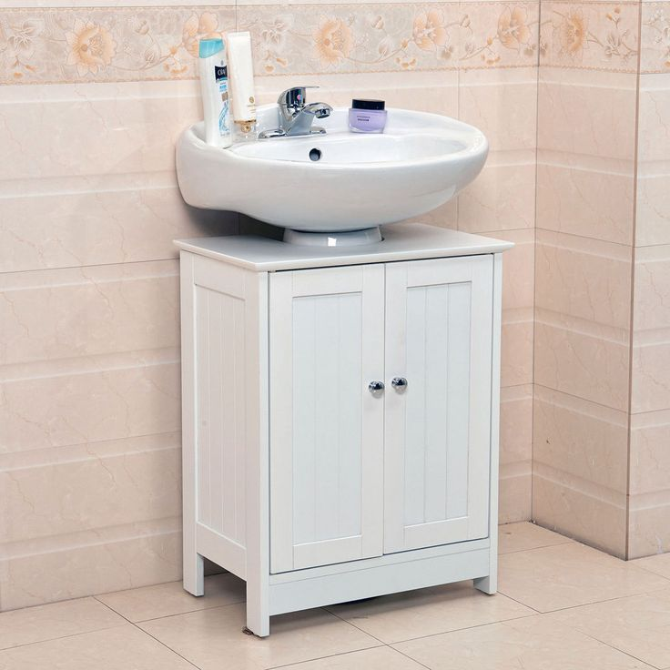 Bathroom Storage Cabinet Under Sink Vanity Unit Cupboard Doors Shelves Handle