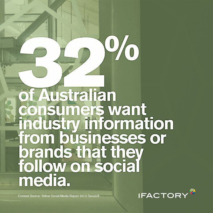32% of Australian consumers want industry information from businesses or brands that they follow on social media. #social #statistics #australian #consumers #media #digital #green #ifactory #ifactorydigital