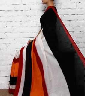 Black Double Ikat Cotton Saree