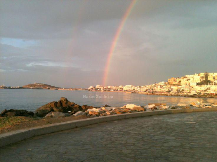 Rainbow over Naxos town