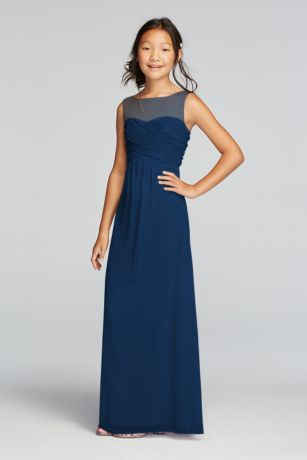 A nice choice for your junior bridesmaids: This long mesh sleeveless bridesmaid dress with an illusion neckline is the right mix of cute and grown-up.   High neck illusion tank bodice features beautiful ruched detail.  Flowy floor length mesh skirt prodives ultimate comfort.  Fully lined. Imported. Back zipper. Dry clean only.  Complements perfectly with Bridesmaid Style F15927.