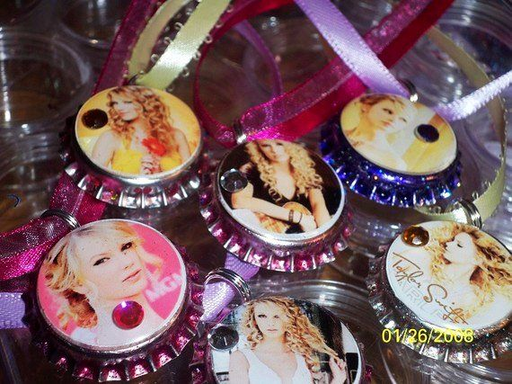 12  Taylor Swift Bottlecap Necklaces Party Favors Assorted MTO - LoveItSoMuch.com !!!!!!! NEEEED!!!!