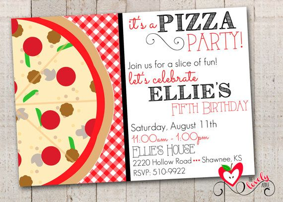 Pizza Birthday Party Invitation Printable Pizza by thelovelyapple, $15.00