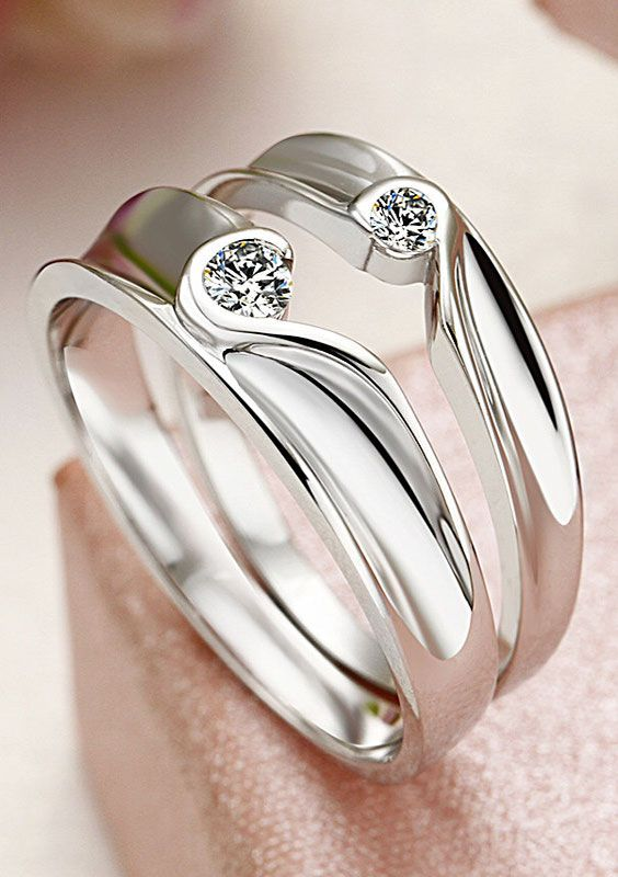 Matching Half Heart Promise Rings for Couples, Mens and Womens Wedding Rings & Engagement Rings in Sterling Silver, His and Hers Cute Jewelry Set with Cubic Zirconia