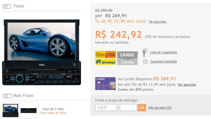 """DVD Player Automotivo Boss Tela Retrátil 7"""" Controle Remoto entradas USB SD Auxiliar << R$ 24292 >>"""