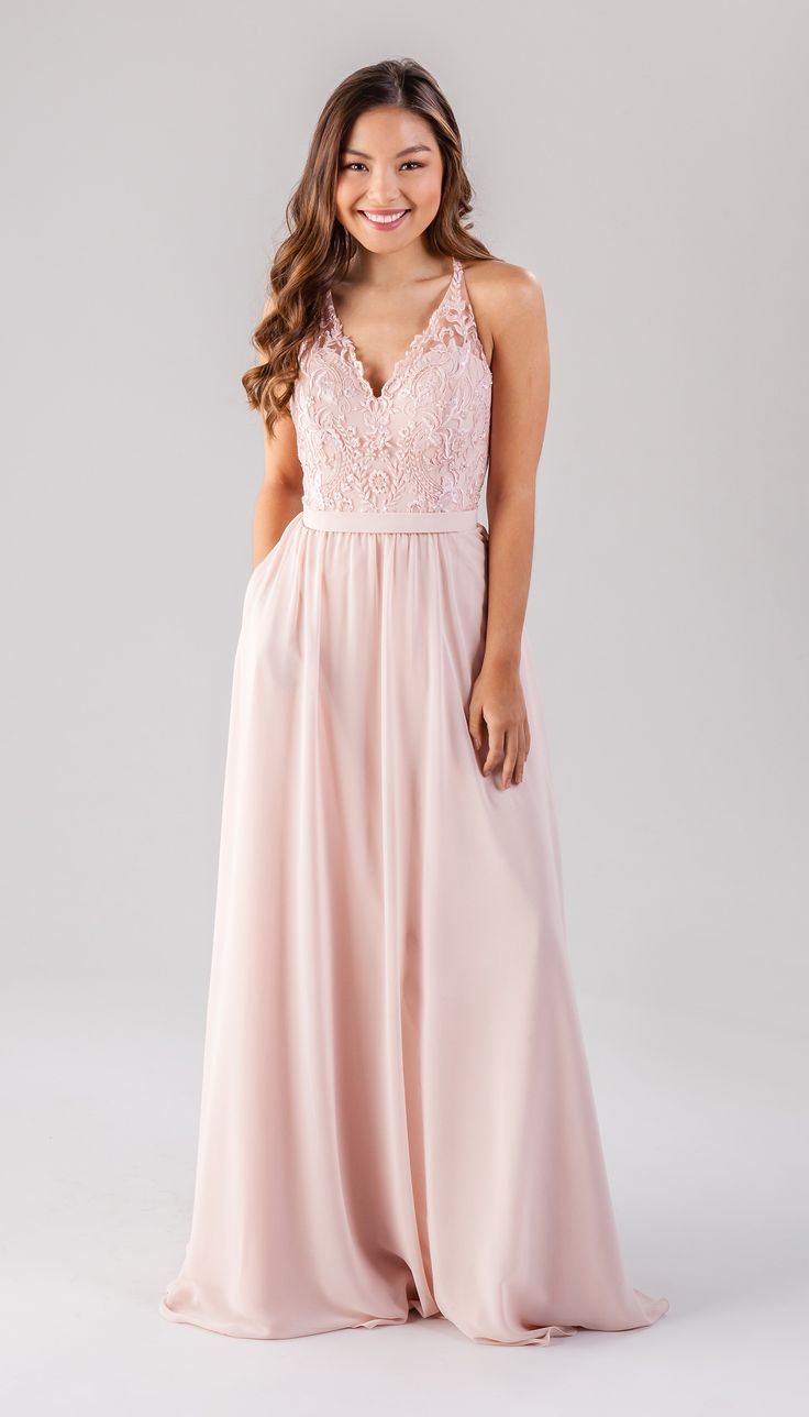 V-neck bridesmaid dress, Blush, embroidered lace bridesmaid dresses, beaded bridesmaid dresses | Jasmine | Kennedy Blue