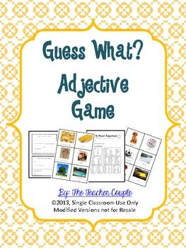 Have students practice using descriptive adjectives through this easy game. Each student has a picture of a common item and must choose three adjectives to describe the item. They then share their clues with the class. This download includes 30 picture cards, a recording sheet, and an adjective reference sheet.