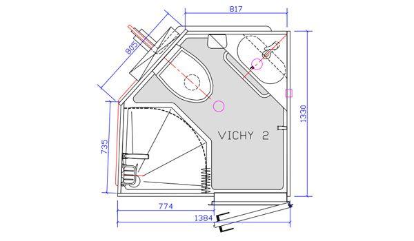 la salle d 39 eau pr fabriqu e vichy int gre douche wc et lavabo faite pour l 39 usage priv elle. Black Bedroom Furniture Sets. Home Design Ideas