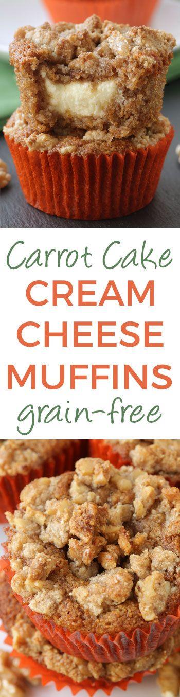 Fluffy and moist carrot cake cream cheese muffins (grain-free, gluten-free)