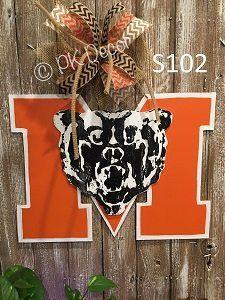 S102 - Mercer University Door Hanger - Mercer Bear Logo Sign