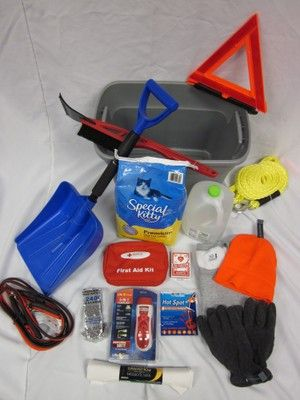 Winter survival kit for vehicle. I have something like this in my car because I'm terrified of being stranded in the winter. I'm going to add some extra things to my kit, thanks to this =)