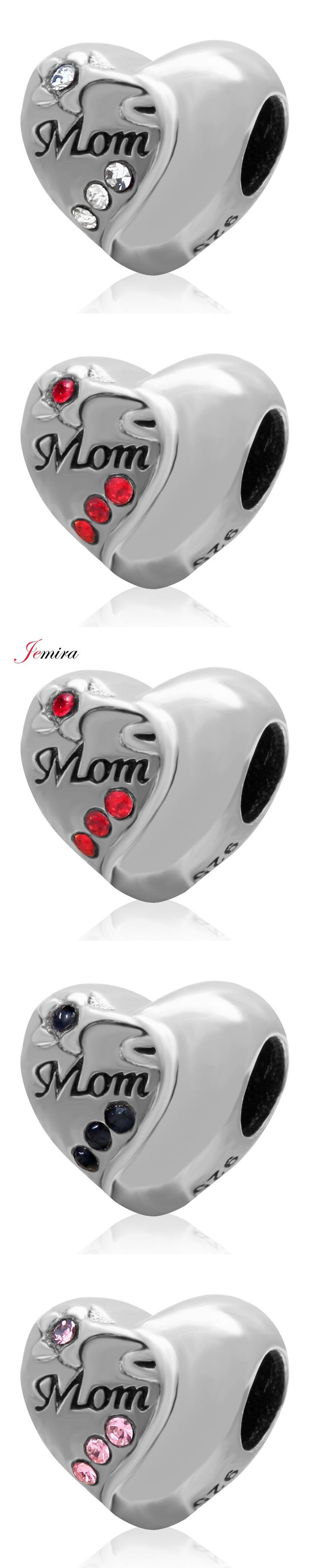 European 925 Sterling Silver Mom Heart Beads DIY Jewelry Making For Woman Pandora Style Charms Bracelets
