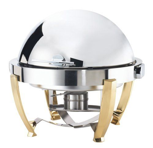 Browne Foodservice Chreschendo round chafer with gold plate legs & roll top lid by Browne-Halco. $707.41. Cover retracts 180 degrees, and removes without tool for easy cleaning. Mounting studs for electric heater. Mirror finish provides quality look for your presention. Round Chafer with gold-finished zinc cast legs