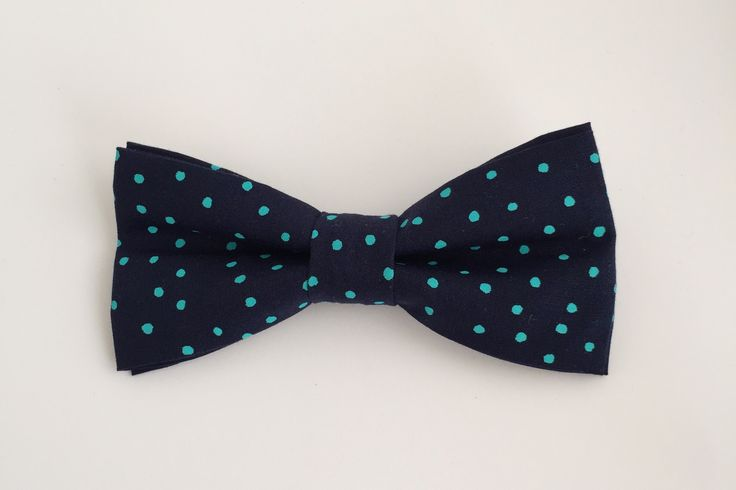 Navy/Mint Polka Dot Bow Tie
