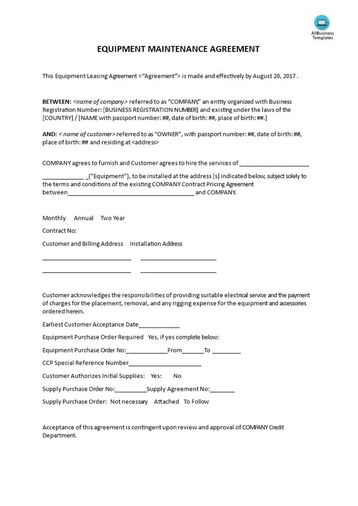 How to set up an Equipment Maintenance Leasing Agreement