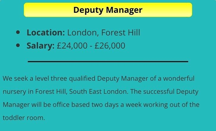 Deputy Manager Vacancy Foresthill Workwithchildren London Jobsearch Job Jobshiring Childcareprofes Child Care Professional Child Care Worker Jobs Hiring