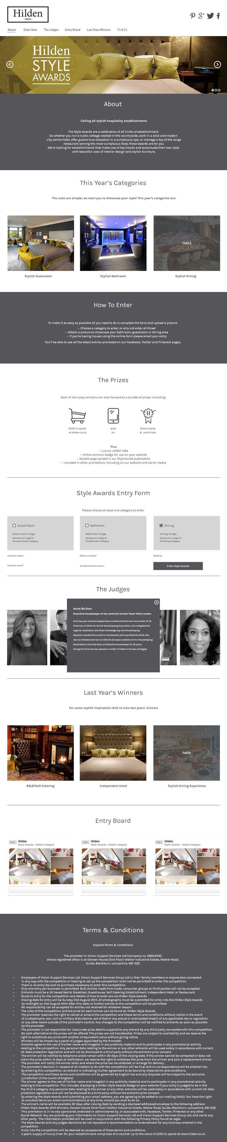 Web design for the annual Hilden Style Awards  Interior design, Hospitality.  Designer: Michael Court http://michaelcourt.co.uk