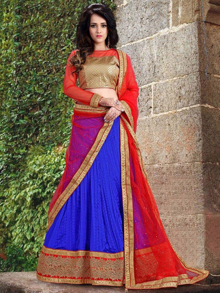 Blue Tussar Silk Lehenga Choli with Embroidery Work