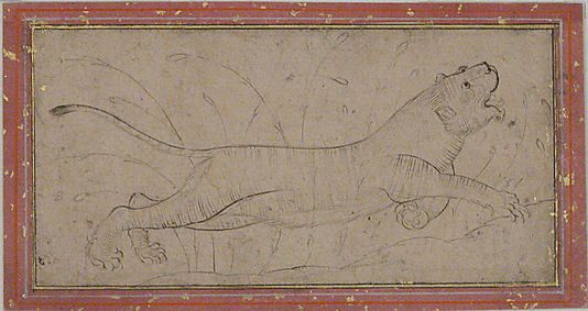 Lion Date: 16th century Geography: Iran Medium: Ink and gold on paper Dimensions: H. 2 3/16 in. (5.6 cm) W. 4 1/2 in. (11.4 cm) Metropolitan Museum of Art 45.174.25
