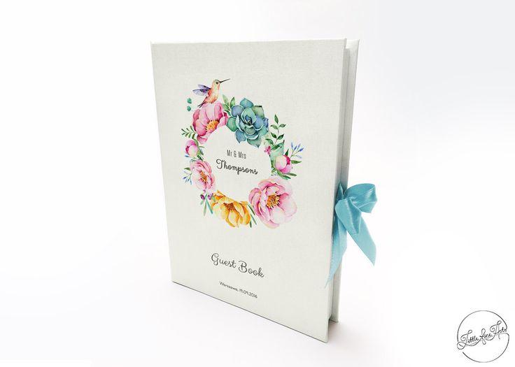 Linen Wedding Guest Book Hummingbird. Wedding by LittleFineArts