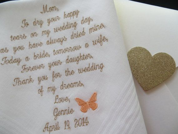 Wedding Handkerchief Mother Of The Bride Gift From Daughter Mom For Dry Your Hy Tears