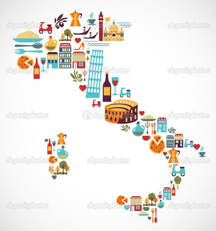 Italien-Karte mit Vektor-icons — Stockilllustration #22300141
