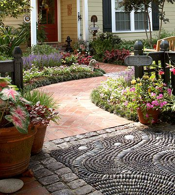 Pebble mosaic walkway or garden stepping stones