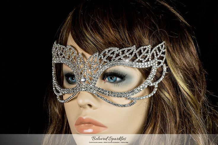 Keely Vintage Leaf Cluster Masquerade Crystal Mask. Description: This is Vintage Leaf Masquerade Mask is created with best quality sparkling Crystal and Black Ribbon Tie. This gorgeous piece will look
