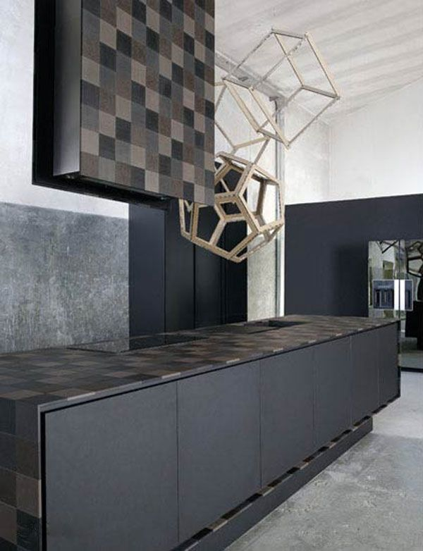 Kitchen:Black Mahogany Wood Kitchen Cabinet Recycled Eco Friendly Paper Cover Up The Counter Top Alessio Bassan Unique Kitchen Made From Rec...