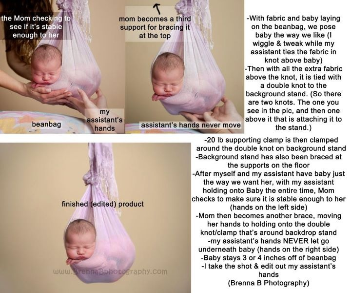 A tutorial (from Brenna B Photography) on how she safely gets the hanging shot with a newborn baby.