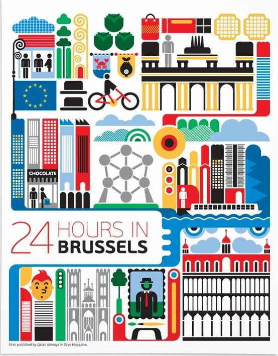 24 hours in Brussels, Belgium. Illustration by Fernando Volken Togni. Commissioned by Qatar Airways inflight magazine Orxy for the 24 hours in… series