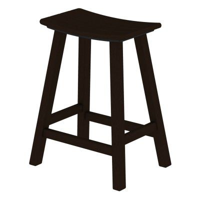 Outdoor POLYWOOD® Traditional 24 in. Saddle Bar Stool Slate Grey - 2001-GY, Durable